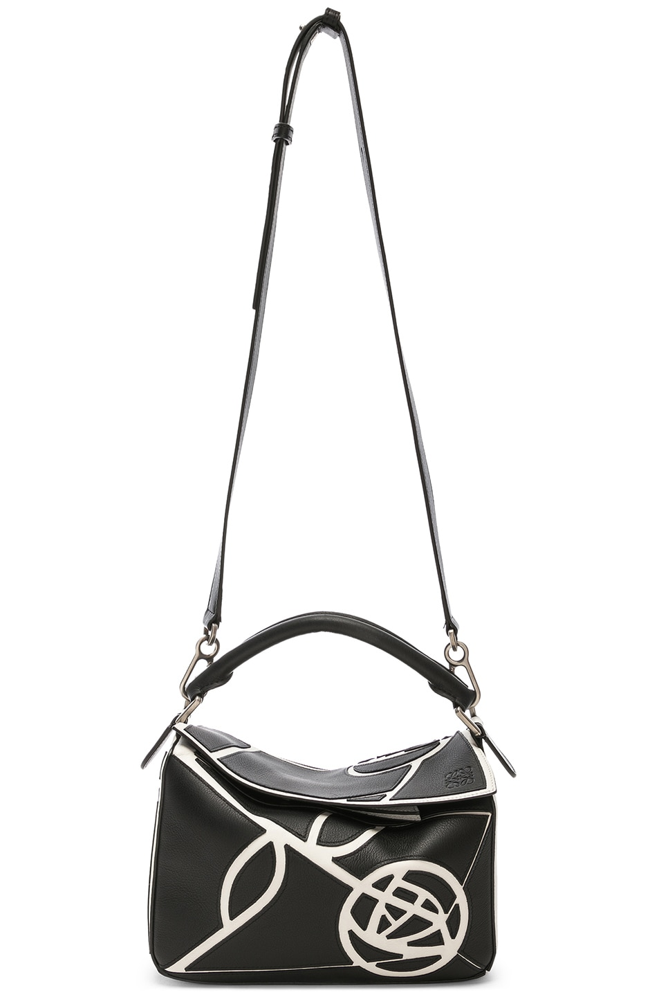 Image 6 of Loewe Puzzle Small Roses Bag in Black & White