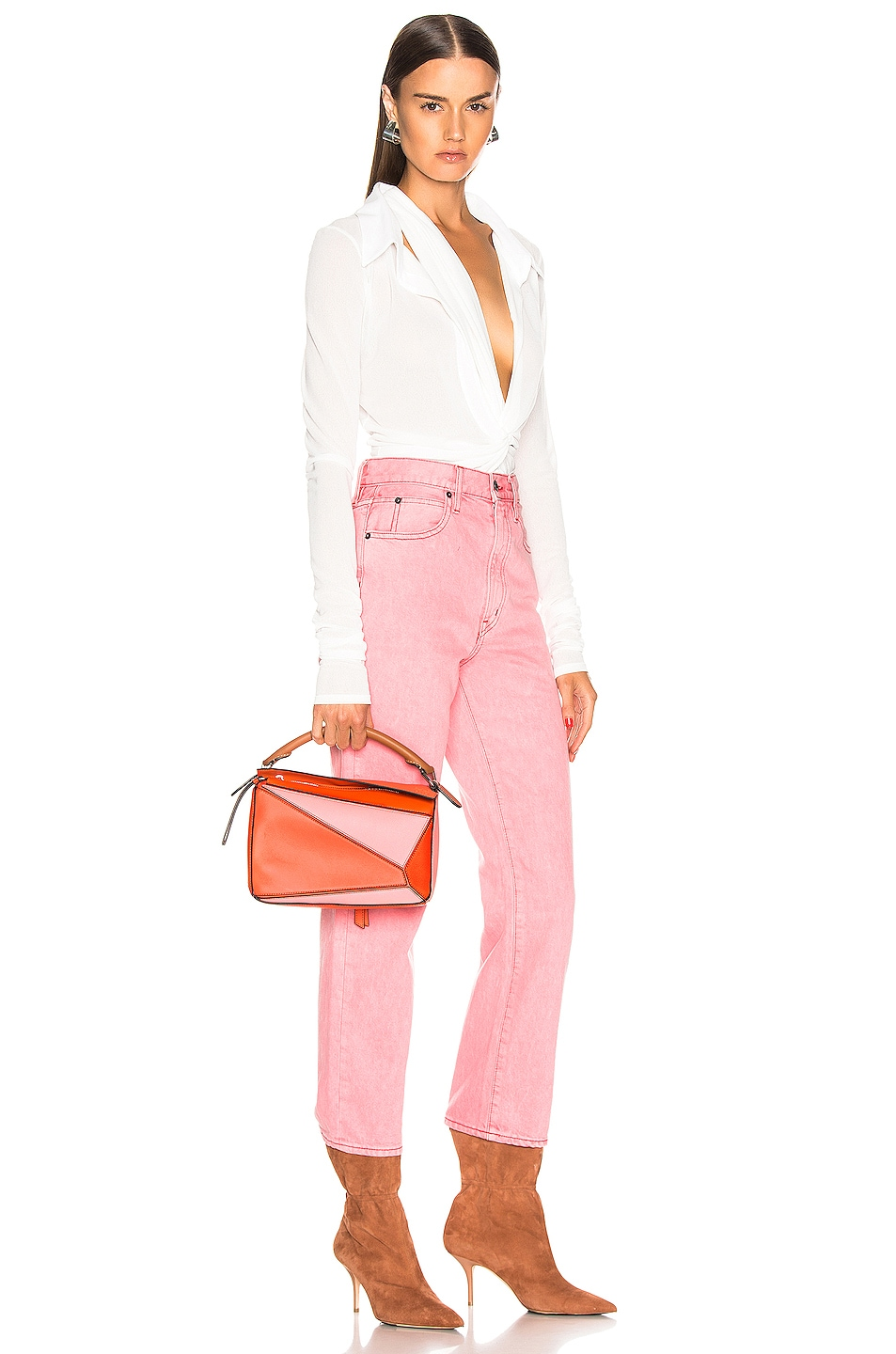 Image 2 of Loewe Puzzle Small Bag in Blossom & Bright Peach