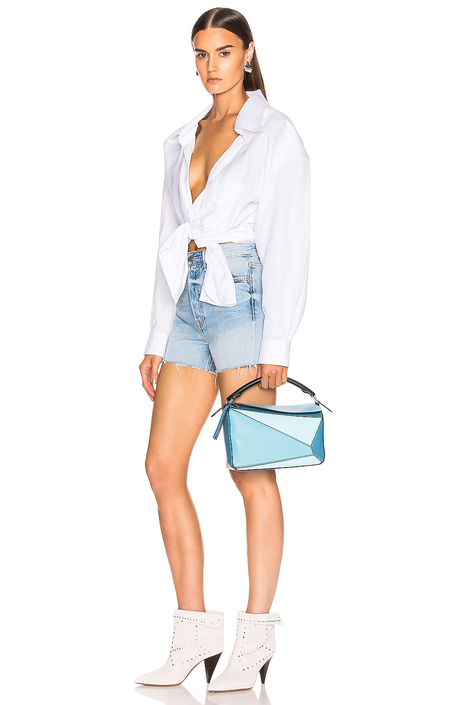 Image 2 of Loewe Puzzle Small Bag in Light Blue & Aqua