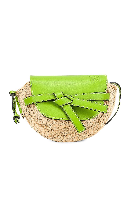 Image 1 of Loewe Mini Gate Bag in Green & Natural