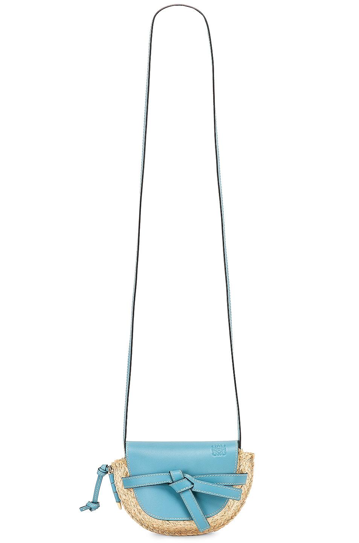 Image 6 of Loewe Mini Gate Bag in Light Blue & Natural