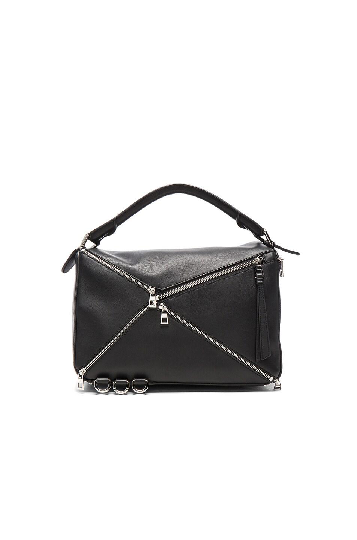 Image 2 of Loewe Puzzle Zips Bag in Black