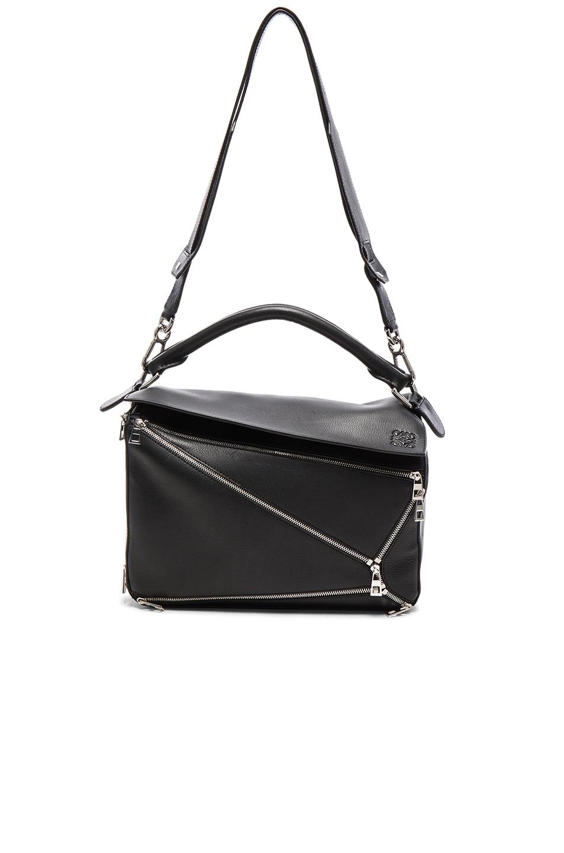 Image 5 of Loewe Puzzle Zips Bag in Black