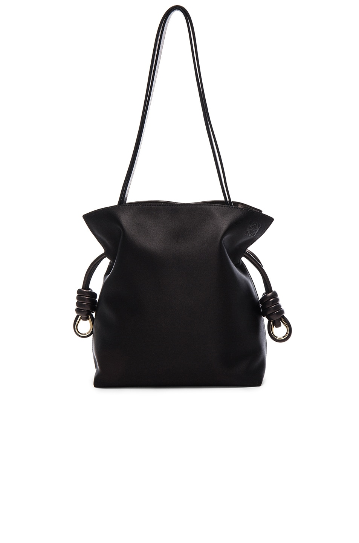 5ff491963f0 Image 1 of Loewe Flamenco Knot Small Bag in Black Satin