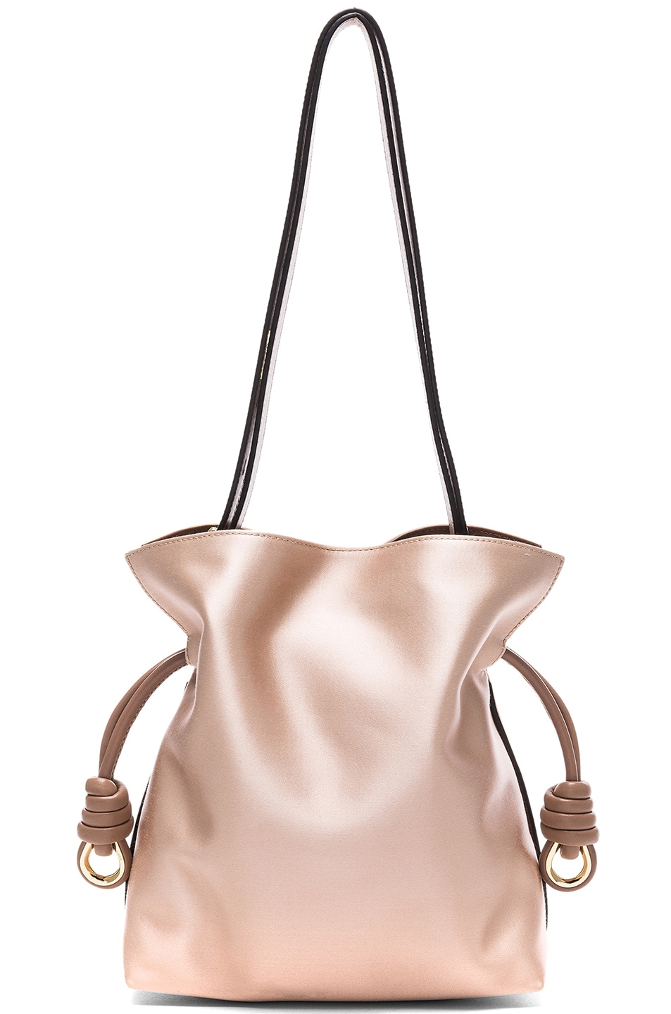 image of loewe flamenco satin knot small bag in sand u hazelnut