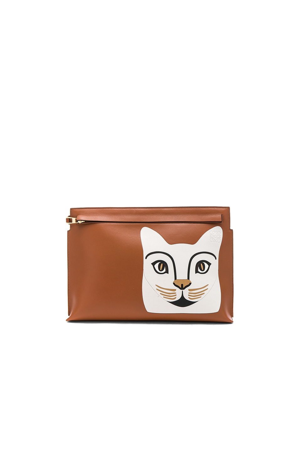Image 1 of Loewe Cat T Pouch in Tan & White