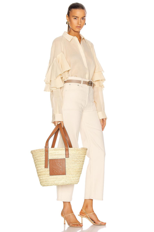 Image 2 of Loewe Basket Bag in Natural & Tan