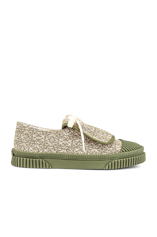 Image 1 of Loewe Anagram Jacquard Flap Sneaker in Olive Green & Cream