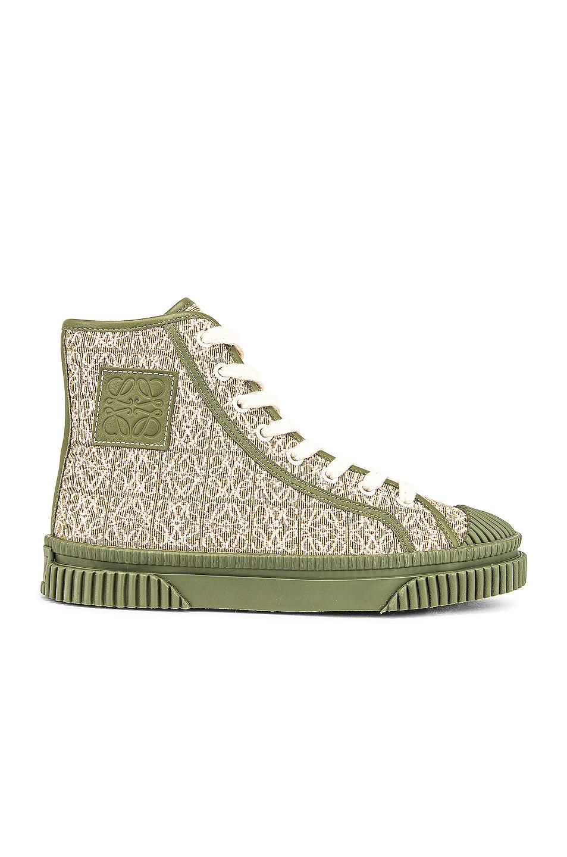 Image 1 of Loewe Anagram High Top Sneaker in Olive Green & Cream
