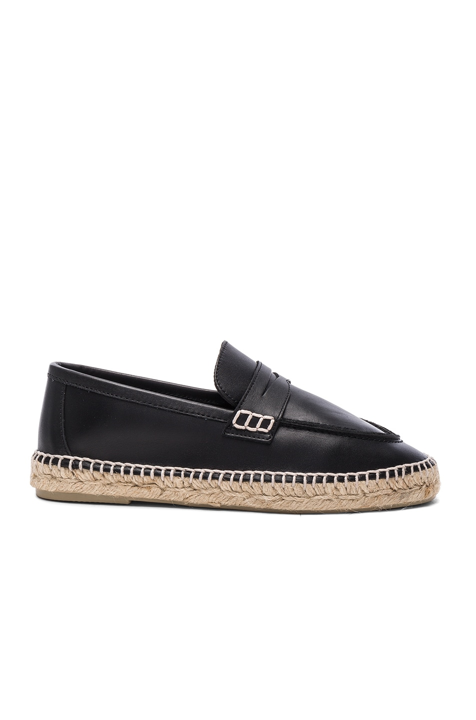 Image 1 of Loewe Leather Loafer Espadrilles in Black