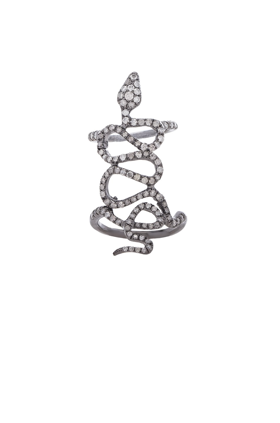 Image 1 of Loree Rodkin Skinny Pave Baby Snake Ring in Silver