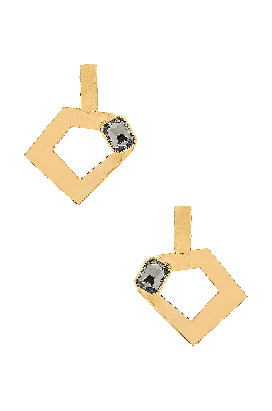 Image 1 of WASSON x LPA for FWRD Penta Hoop Earrings with Crystal in Gold Plated