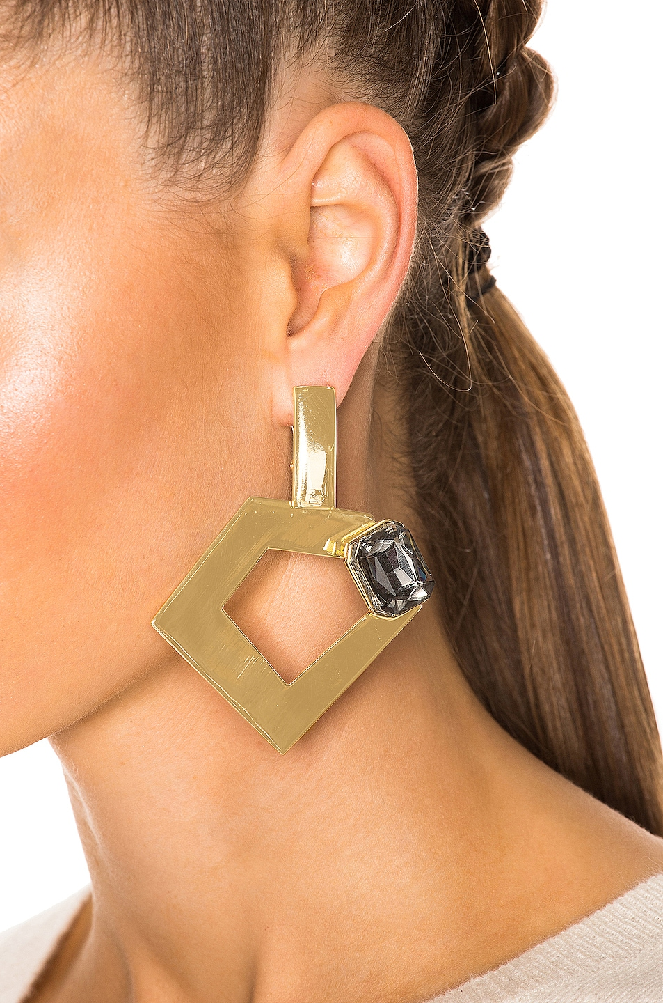 Image 4 of WASSON x LPA for FWRD Penta Hoop Earrings with Crystal in Gold Plated