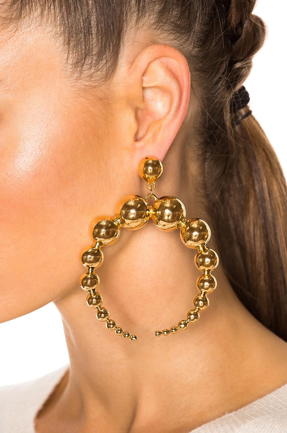 Image 4 of WASSON x LPA for FWRD Crescent Sphere Earrings in Gold Plated