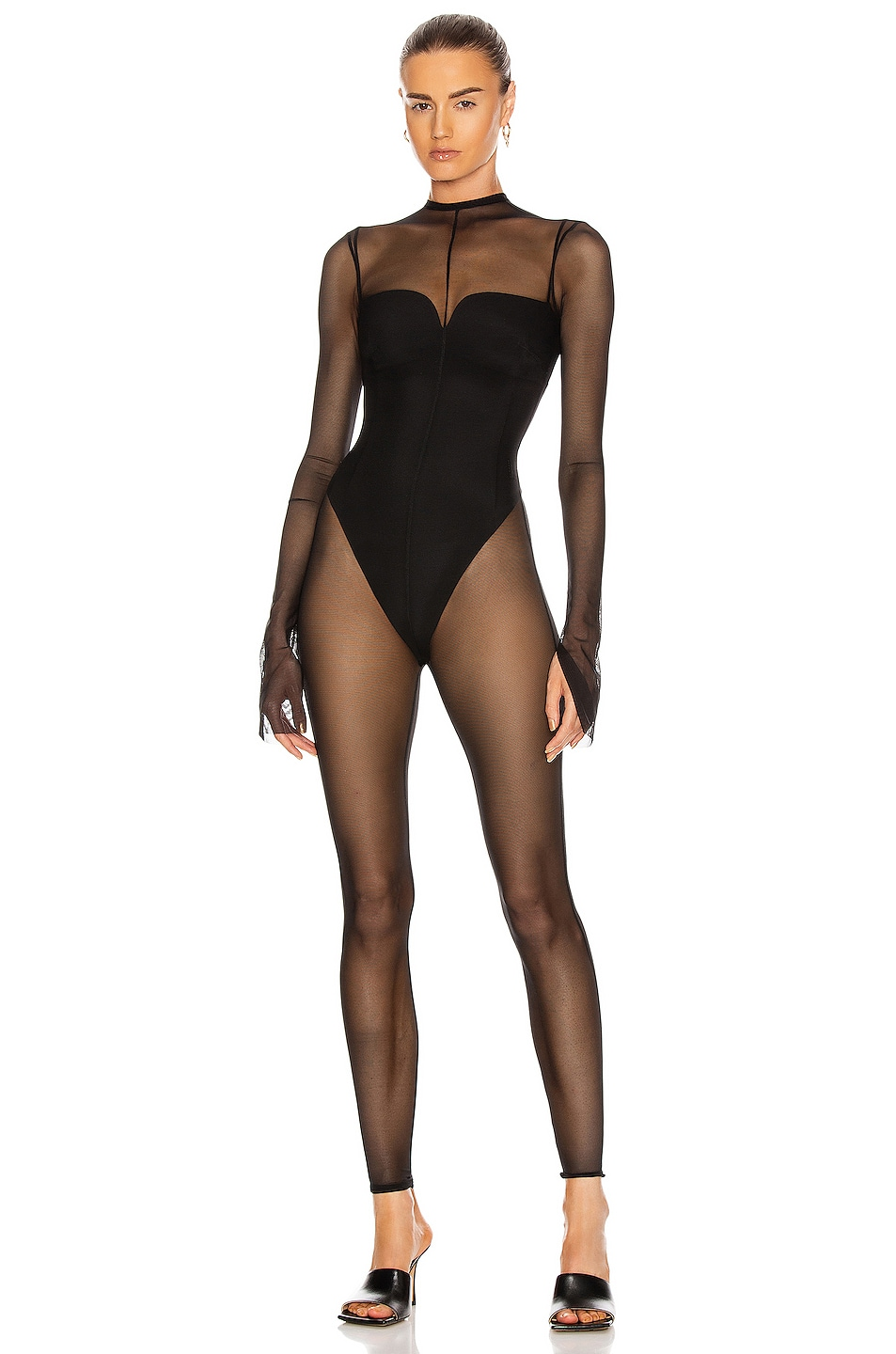 Image 1 of LaQuan Smith Mesh Catsuit in Black