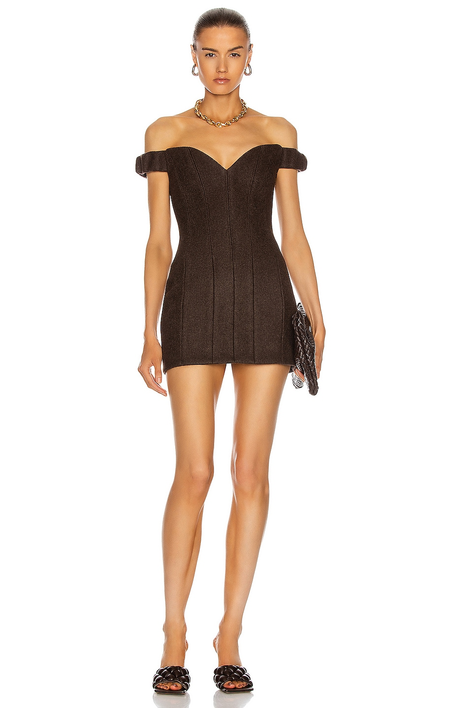Image 1 of LaQuan Smith Michelle Off Shoulder Mini Dress in Chocolate
