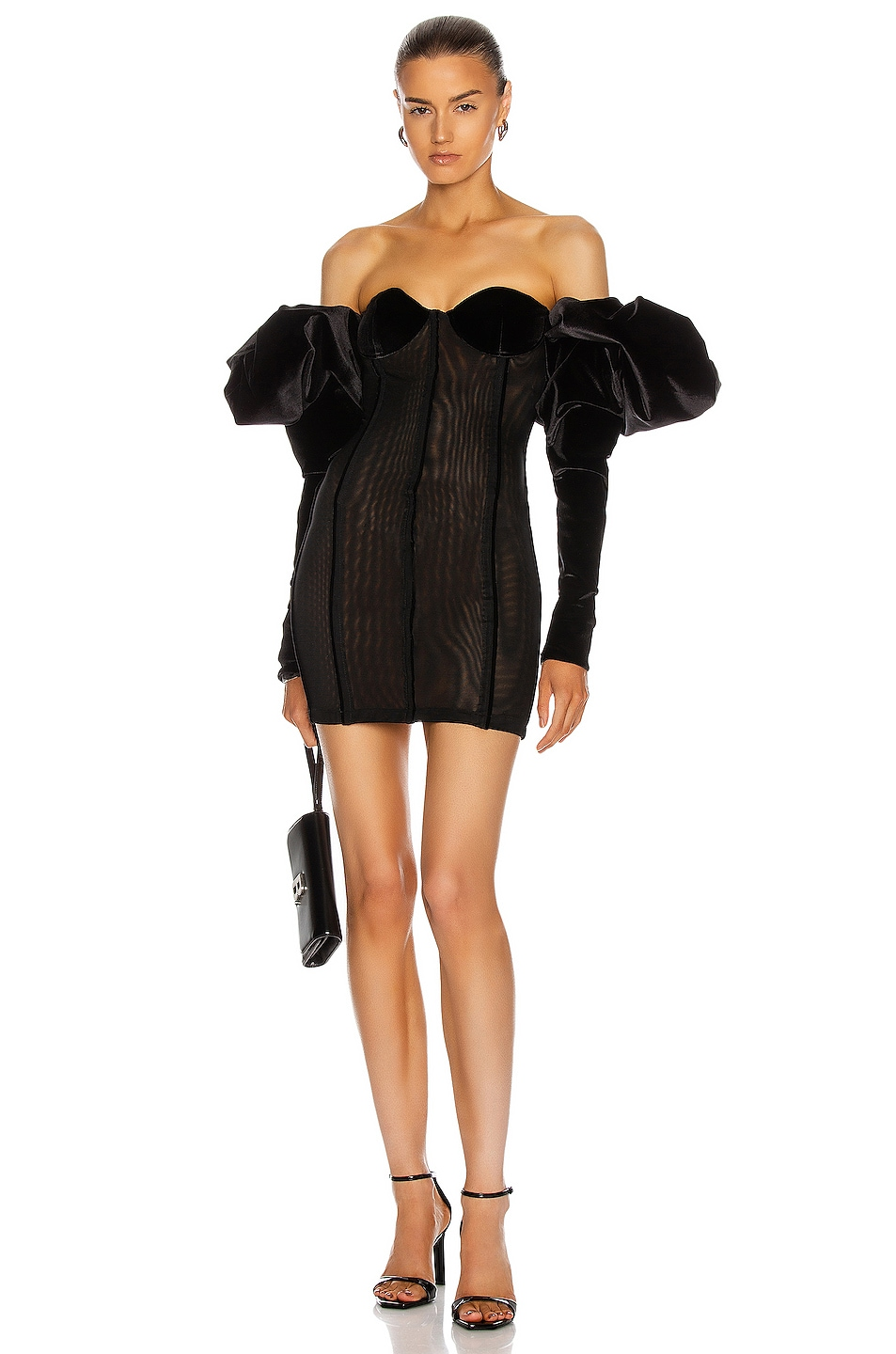 Image 1 of LaQuan Smith Off Shoulder Puff Sleeve Dress in Black