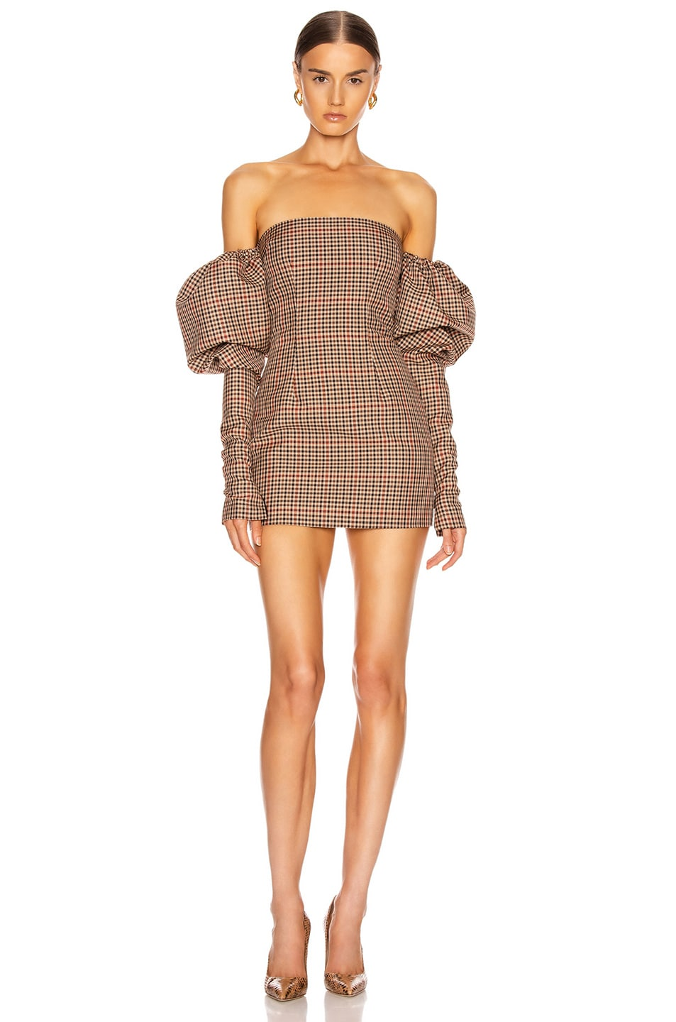 Image 1 of LaQuan Smith Erin Puff Dress in Brown Herringbone