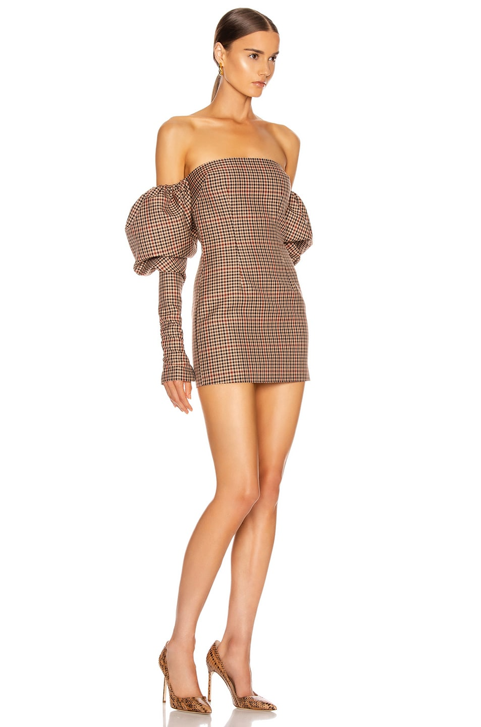 Image 2 of LaQuan Smith Erin Puff Dress in Brown Herringbone
