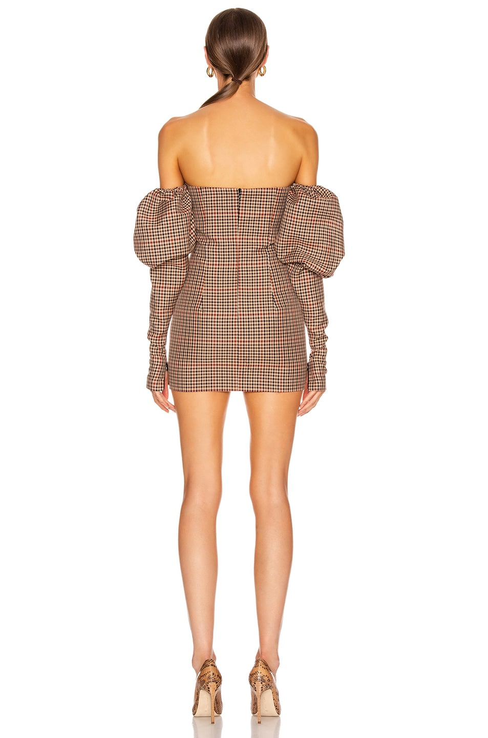 Image 3 of LaQuan Smith Erin Puff Dress in Brown Herringbone