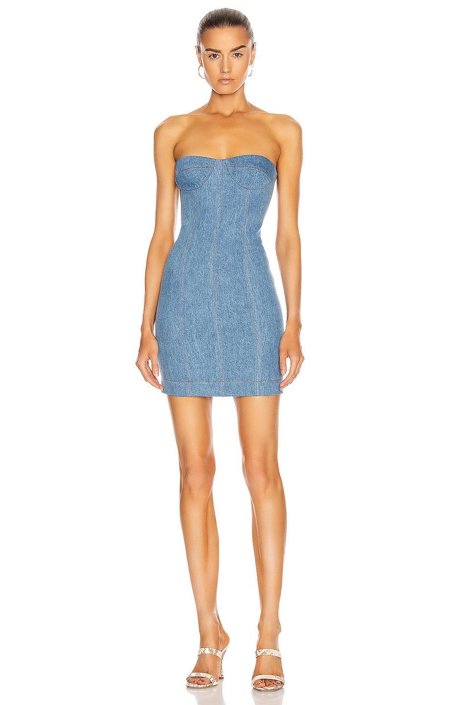 Image 1 of LaQuan Smith x Jordach Bustier Mini Dress in Blue Denim