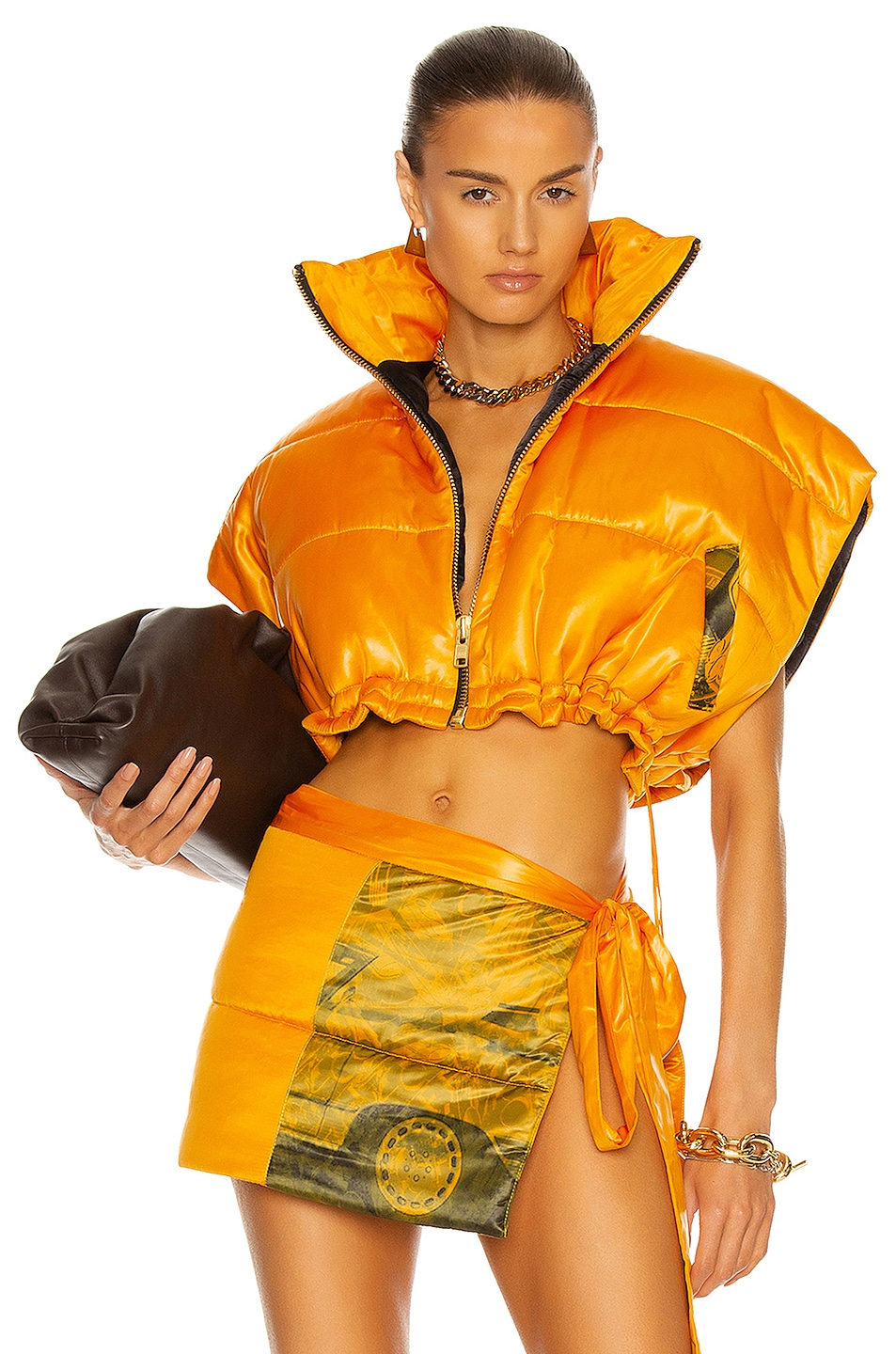 Image 1 of LaQuan Smith Printed Cropped Puffer Vest in Hot Orange