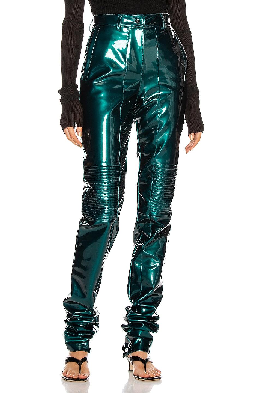 Image 1 of LaQuan Smith Latex Motor Pant in Emerald Green