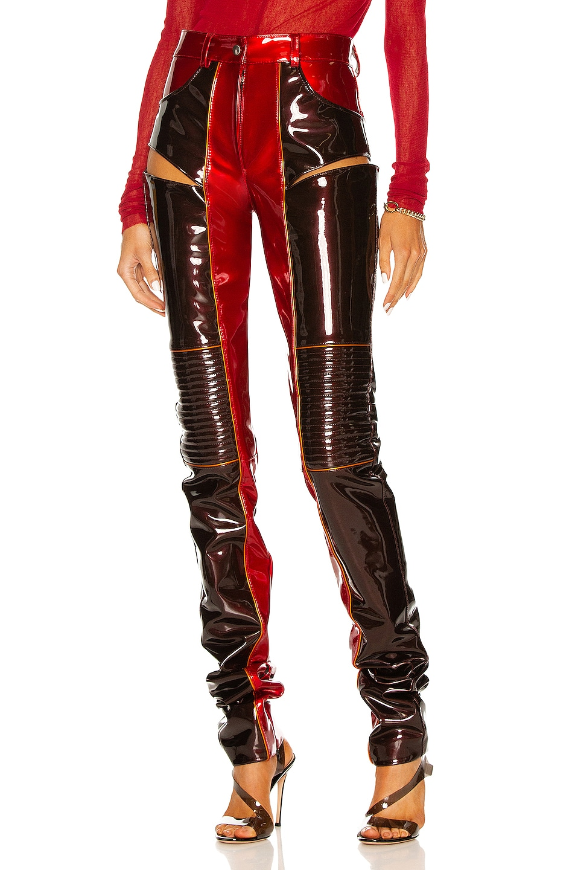 Image 1 of LaQuan Smith Hip Cutout Moto Pant in Chocolate, Crimson, & Orange Piping