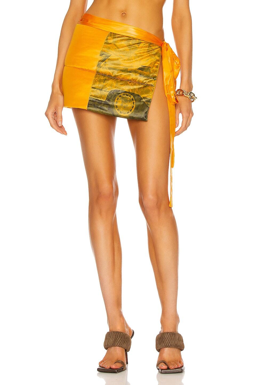 Image 1 of LaQuan Smith Printed Puffer Mini Skirt in Hot Orange