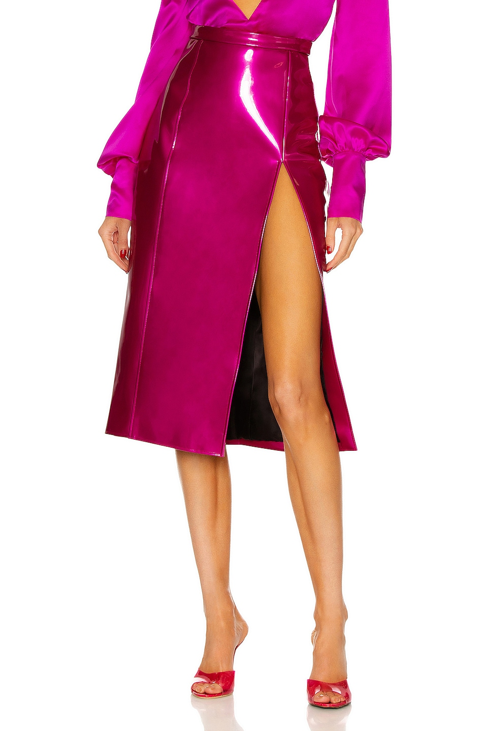 Image 1 of LaQuan Smith Pencil Skirt with Side Slit in Hot Pink