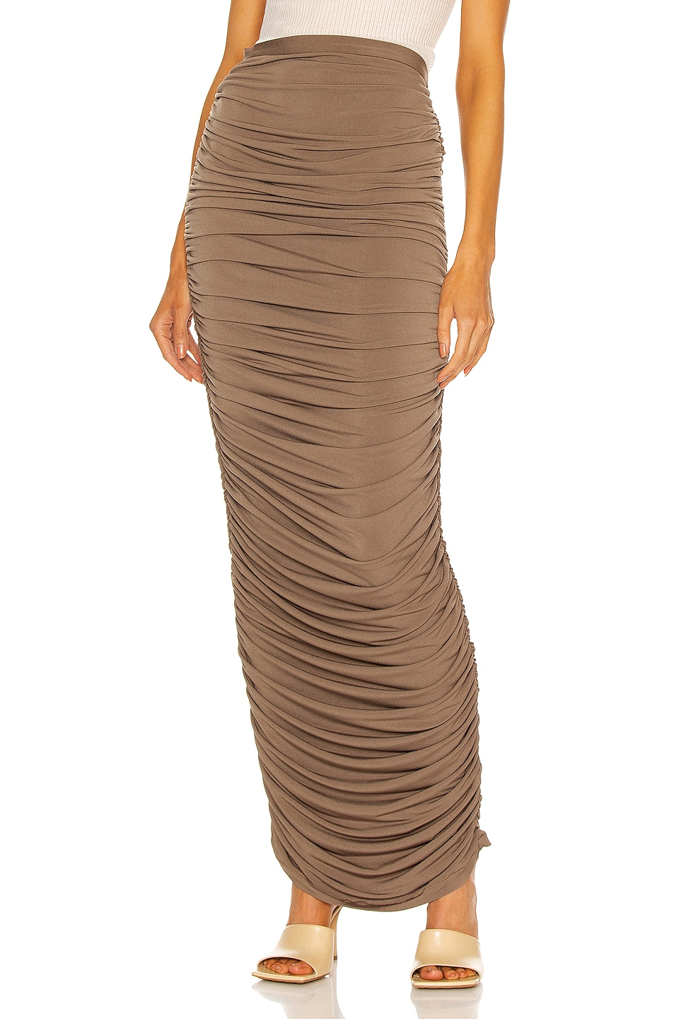 Image 1 of LaQuan Smith Ruched Maxi Skirt in Sage