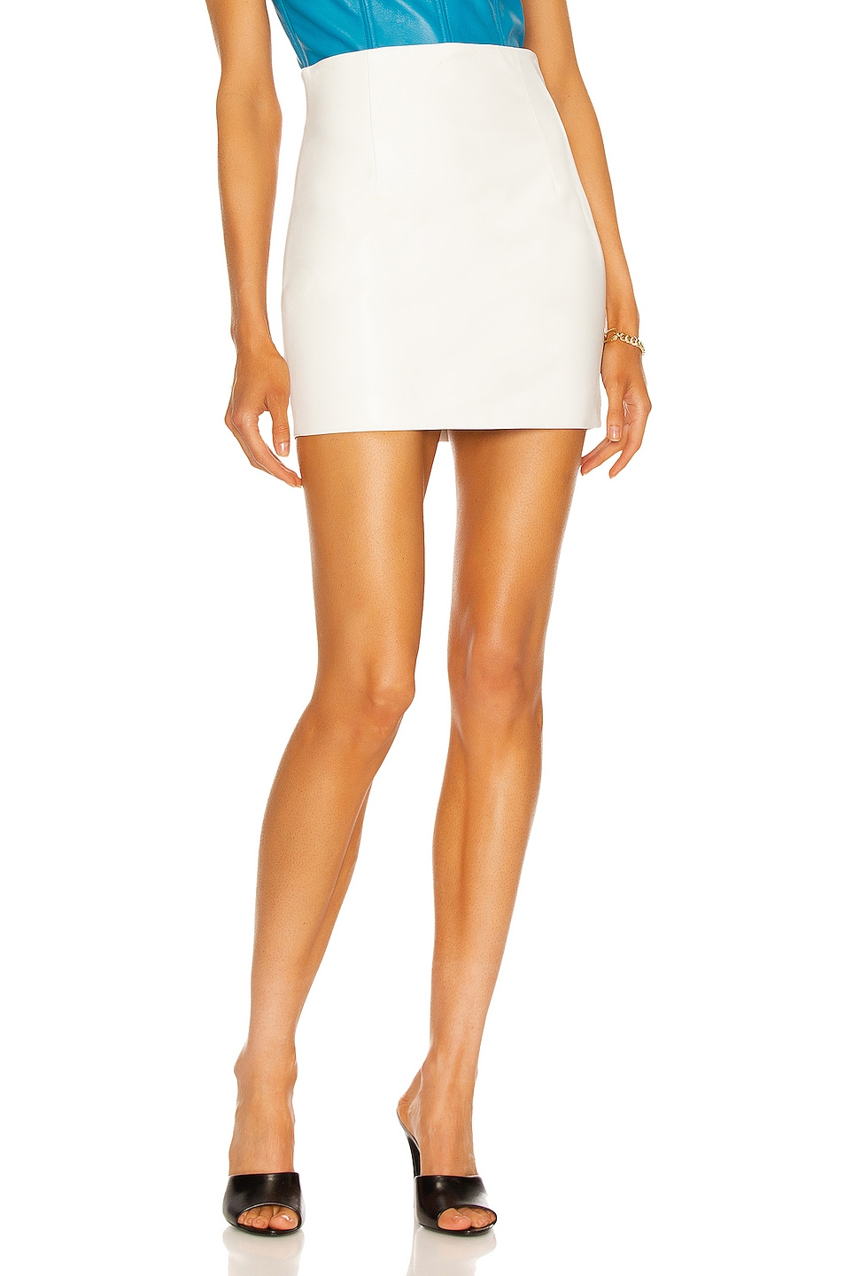 Image 1 of LaQuan Smith Leather Mini Skirt in White