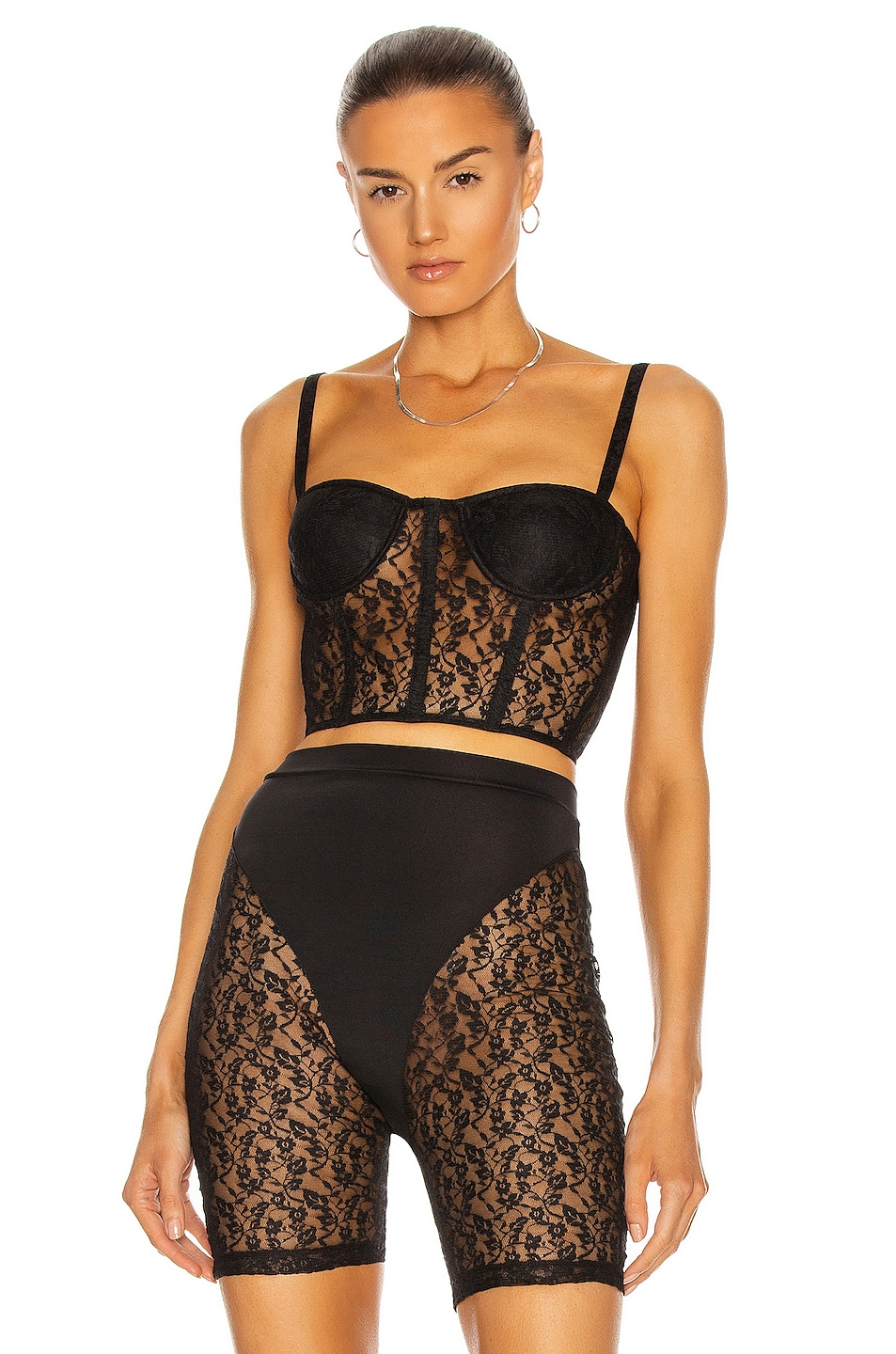 Image 1 of LaQuan Smith for FWRD Lace Bustier Top in Black