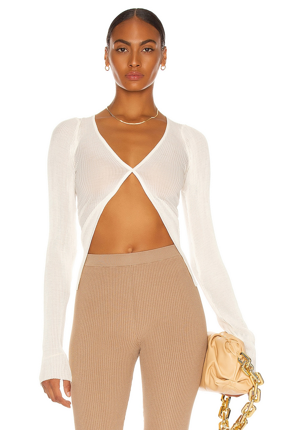 Image 1 of LaQuan Smith Long Sleeve Cardigan Top in Ivory