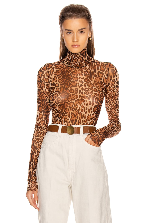 Image 1 of LaQuan Smith Animalia Bodysuit in Leopard Natural