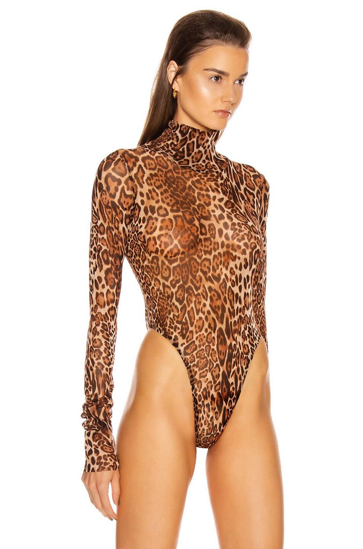 Image 3 of LaQuan Smith Animalia Bodysuit in Leopard Natural