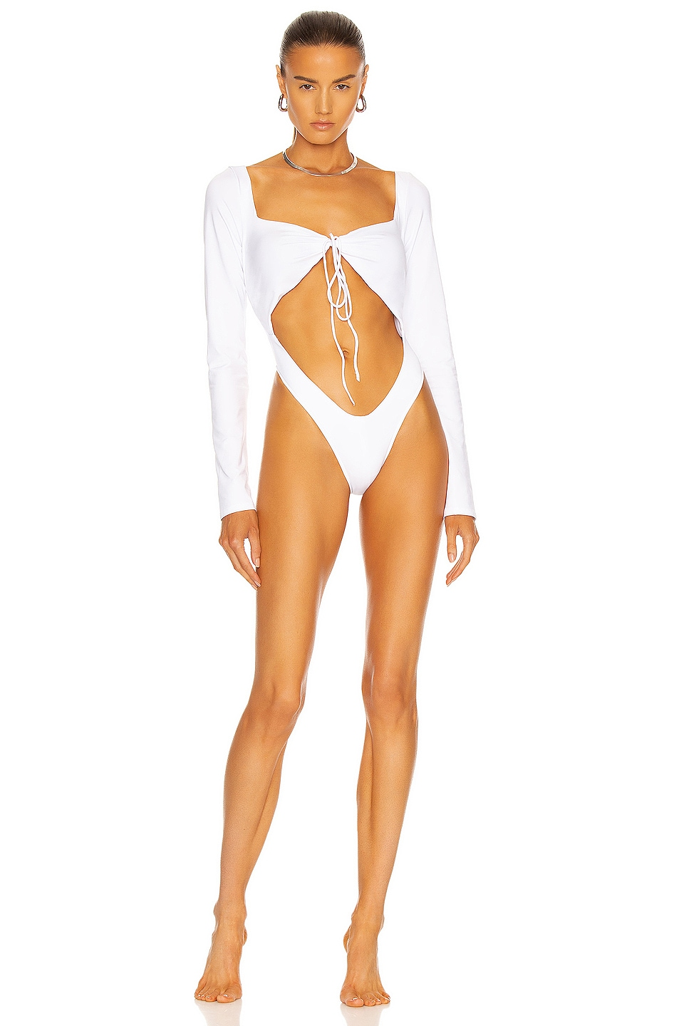 Image 1 of LaQuan Smith Tie Front Swimsuit in White