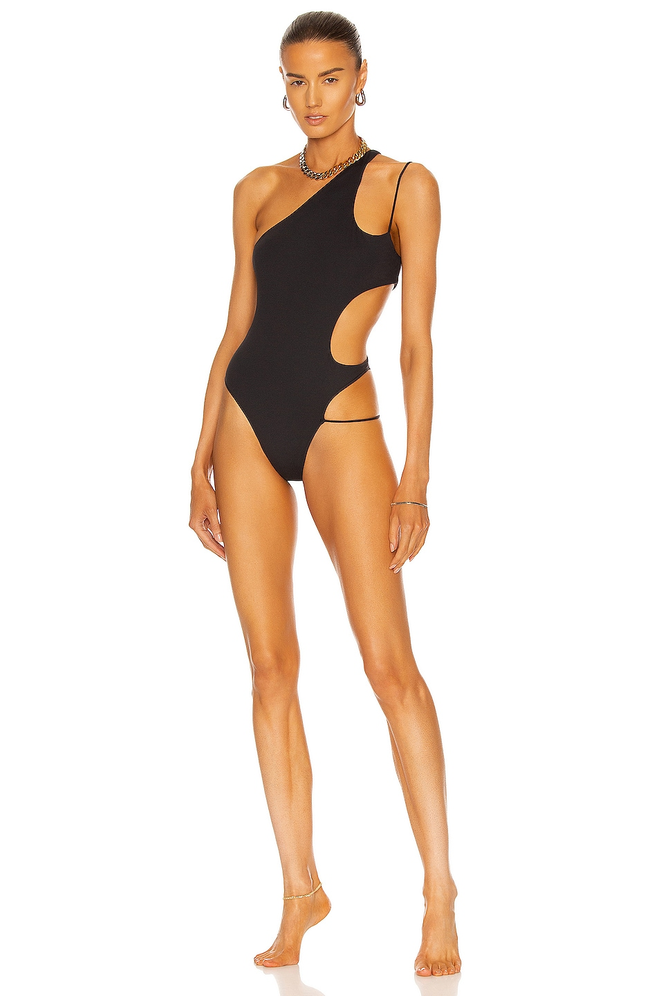 Image 1 of LaQuan Smith Cutout Swimsuit in Black