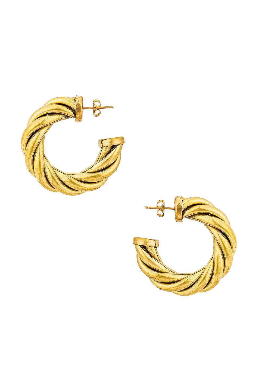 Image 1 of LAURA LOMBARDI Spira Hoop Earrings in Gold