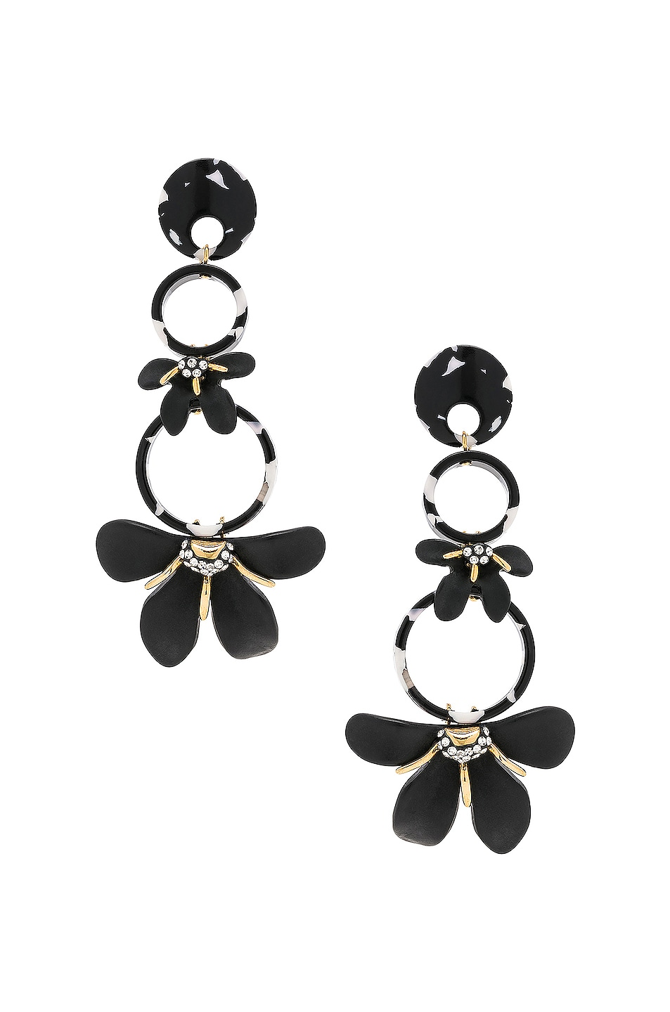 Image 1 of Lele Sadoughi Trumpet Lily Chandelier Earrings in Black & White