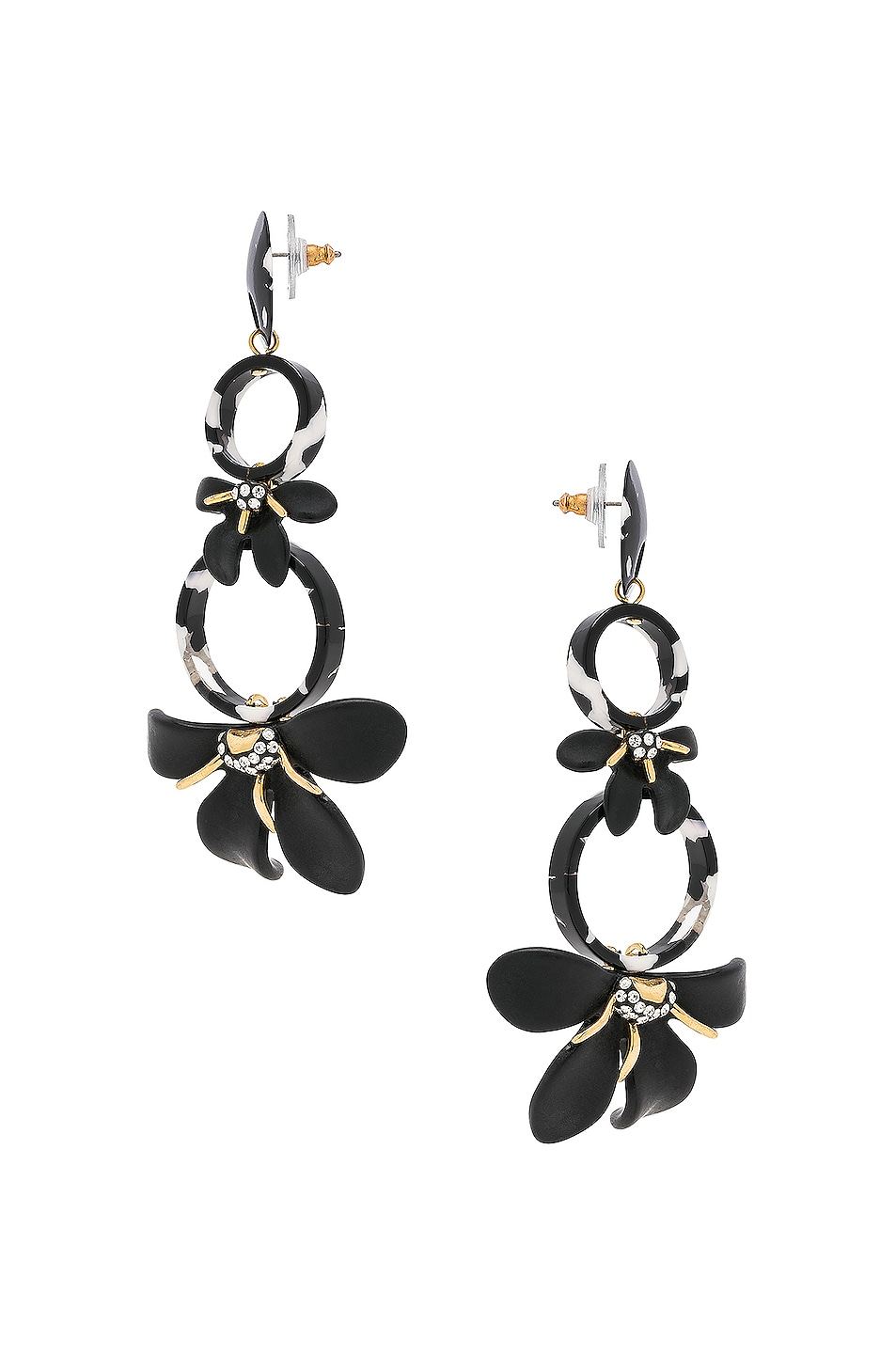 Image 3 of Lele Sadoughi Trumpet Lily Chandelier Earrings in Black & White