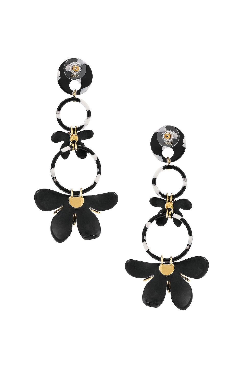Image 4 of Lele Sadoughi Trumpet Lily Chandelier Earrings in Black & White