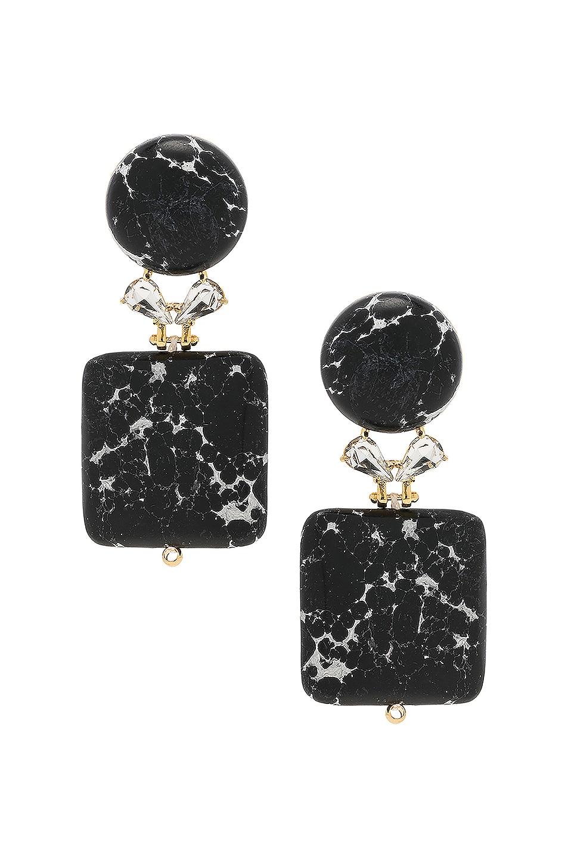 Image 1 of Lele Sadoughi Stone Starlet Earrings in Black Marble
