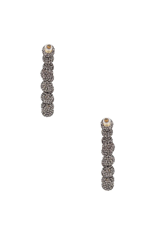 Image 4 of Lele Sadoughi Stardust Crystal Hoop Earrings in Black Diamond