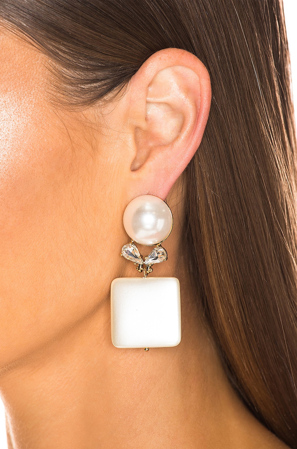 Image 2 of Lele Sadoughi Stone Starlet Earrings in Pearl