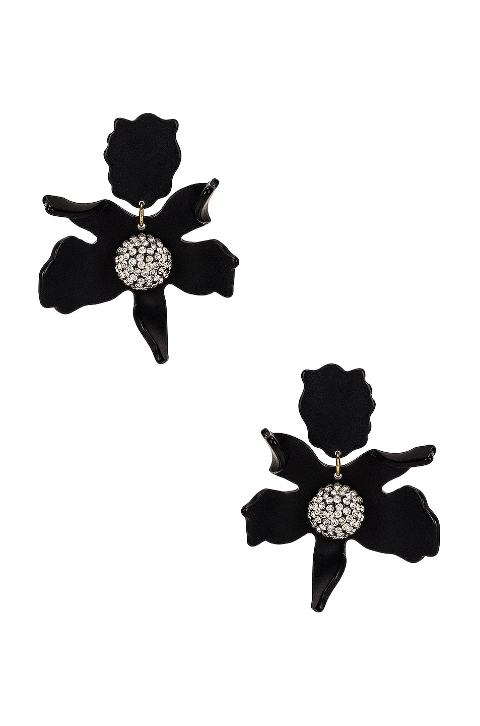 Image 1 of Lele Sadoughi Crystal Lily Earrings in Jet