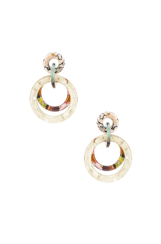 Image 4 of Lele Sadoughi Double Ring Hoop Earrings in Bone