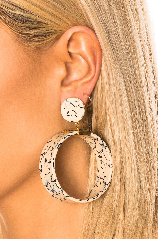 Image 2 of Lele Sadoughi Binocular Hoop Earrings in Splatter Paint