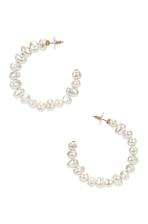 Image 1 of Lele Sadoughi Jelly Bean Hoop Earrings in Ivory Pearl