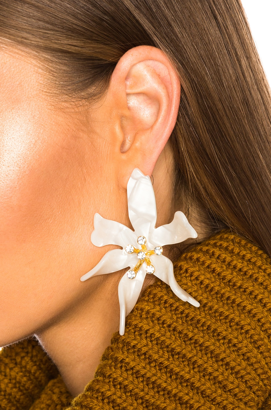 Image 4 of Lele Sadoughi Water Lily Earrings in Mother of Pearl
